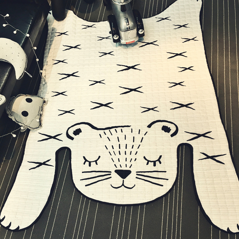 Non slip White Tiger Rug Quilting Mat 130x185cm size Polyester fabric carpet parlor crawling mat for