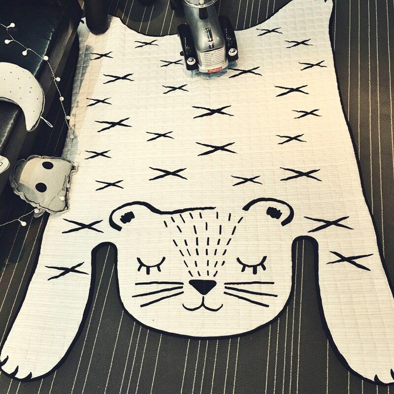 Нескользящий белый тигровый коврик стеганый коврик 185x130 см размер полиэстер тканевый ковер салон ползающий коврик для детей Дети