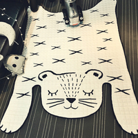 White Tiger Quilting Mat 130x185cm Size Polyester Fabric Carpet Parlor Crawling Mat Toys Storage Bags For