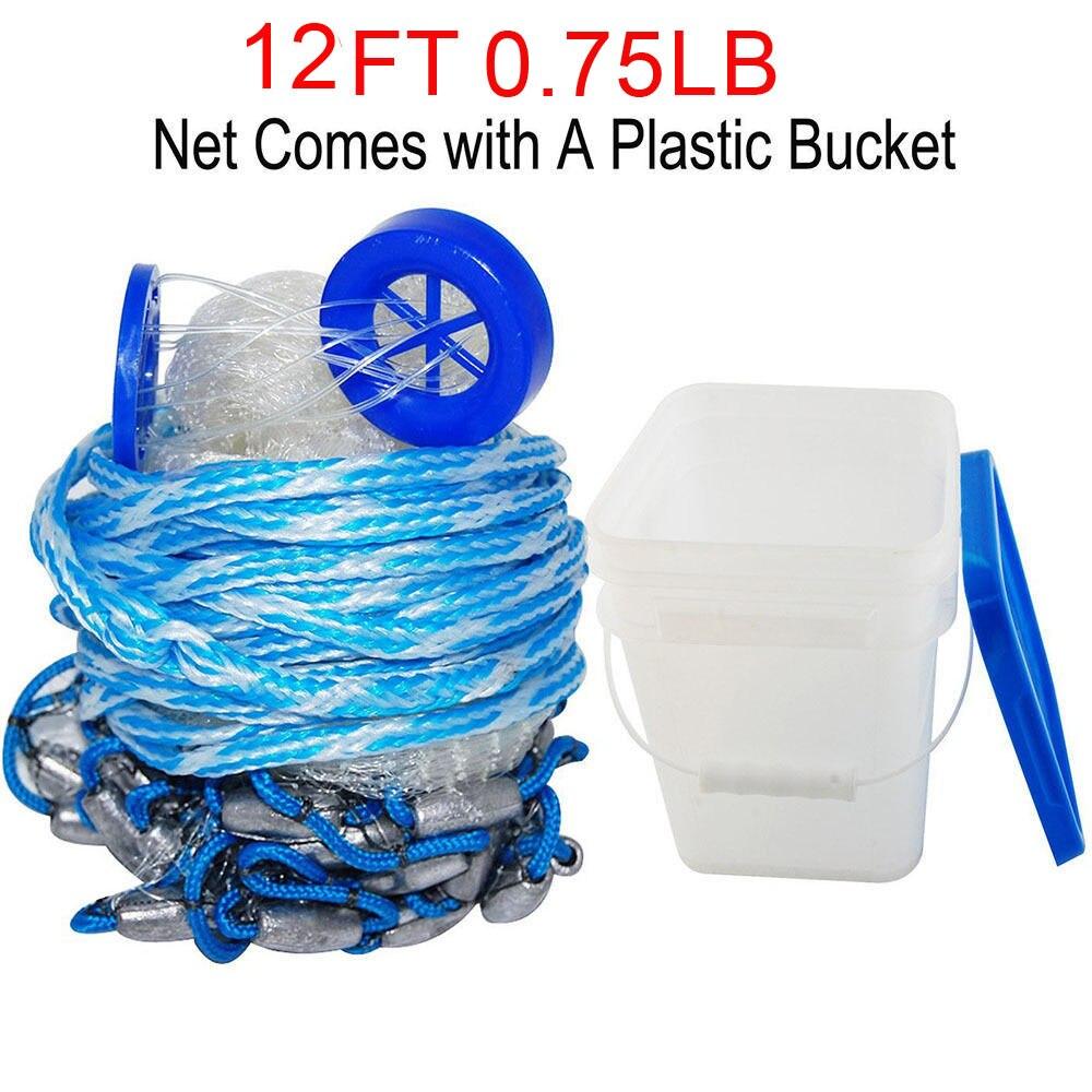 Hyaena 12Feet Radius 0.75LB Fishing Cast Net American Heavy Duty Real Lead Weights Hand Throwing Trap Net With Bucket