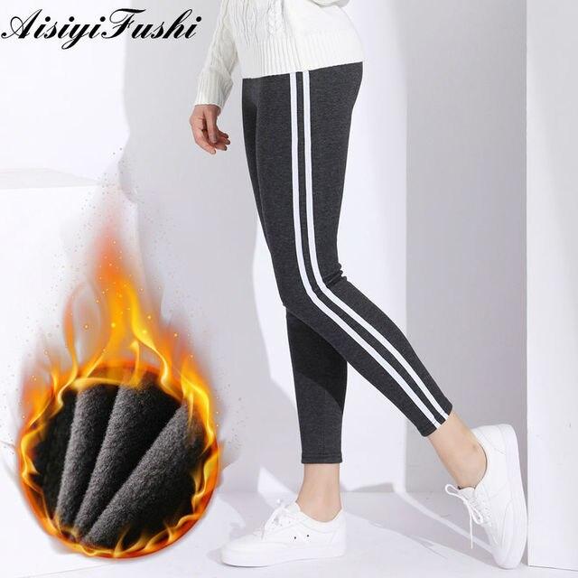 vente chaude réel Promotion de ventes coût modéré US $12.58 45% OFF|Trackpants Legging Femme Trousers Striped Pants Women's  Warm Pants Female Winter Black Plush Pants Joggers Women Plus Size 6XL-in  ...