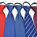 Lot of 20 Easy Wear Pre-tied 8cm Striped Solid Color New Jacquard Woven Necktie Men's Tie