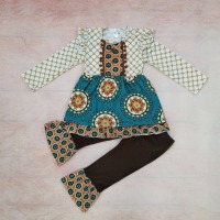CONICE NINI Baby Girl Clothes Set Kids Sunflower Pattern Top Brown Legging Remake Boutique Toddler Clothing Sets F182
