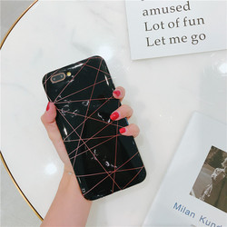 For Case IPhone Marble Geometric Back Cover Polish Stitching Geometry Imd Marble Stone Gel Case For IPhone 6S X 7 8Plus Fundas 5