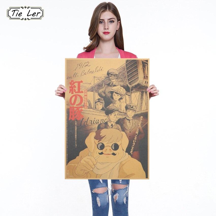 Vintage Movie Miyazaki Hayao Red Pig Kraft Paper Poster Room Decoration Wall Sticker Painting Wallpaper 36 X 51.5cm