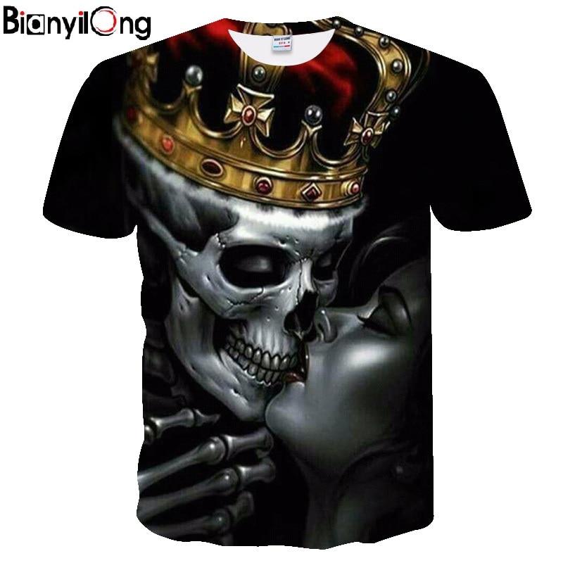 2018 New Tshirt New Fashion Men's Print Lovers Crown Skulls 3D T-shirt Black T Shirts Man Hiphop Streetwear O Neck Tee Shirts