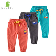 YUHANWOO Kids Boys Girls Casual Cute Cartoon Pattern Solid Cotton Pants for Spring Autumn Unisex Trousers Children For 2-8Y