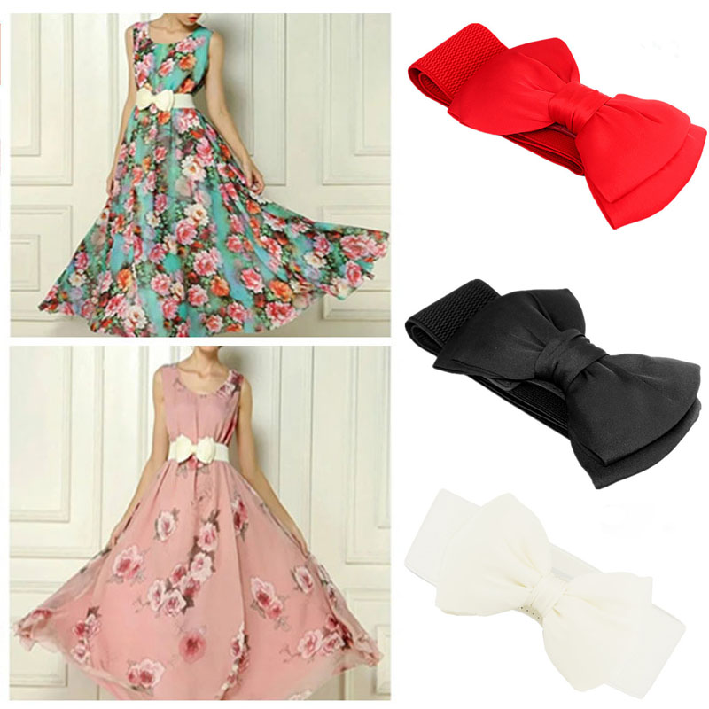 Fashion Women white Elastic   Belt   Bow Wide Stretch leather   belt   harajuku Style   belt   for dresses women Designer brands