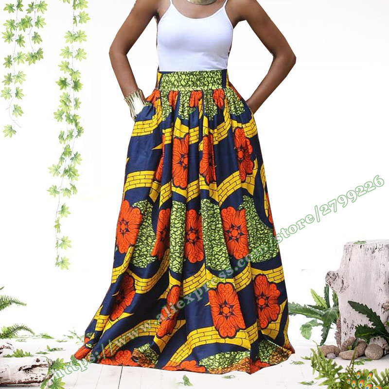 2017 Fashion Women African Print Ankara Dashiki High Waist Femme Long Skirt Umbrella Sun Ladies Jupe