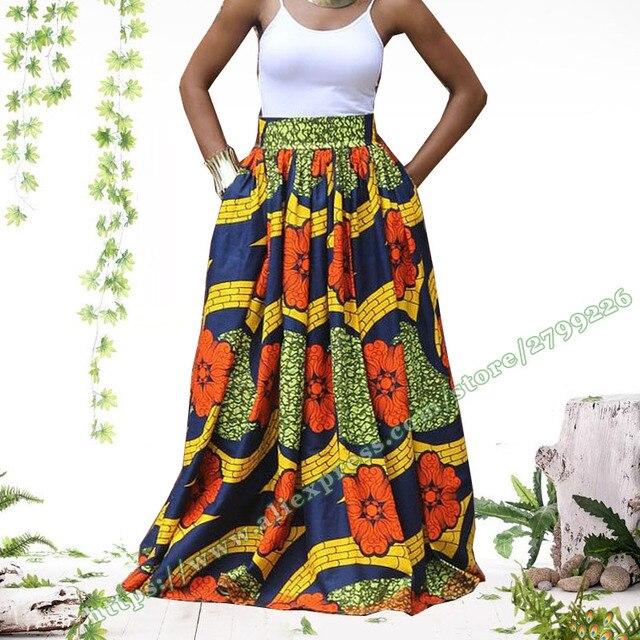 5e05a24083c90b € 30.36 |2017 mode femmes imprimé africain Ankara Dashiki taille haute  Femme Longue Jupe parapluie soleil dames Jupe Longue Maxi jupes femmes dans  ...
