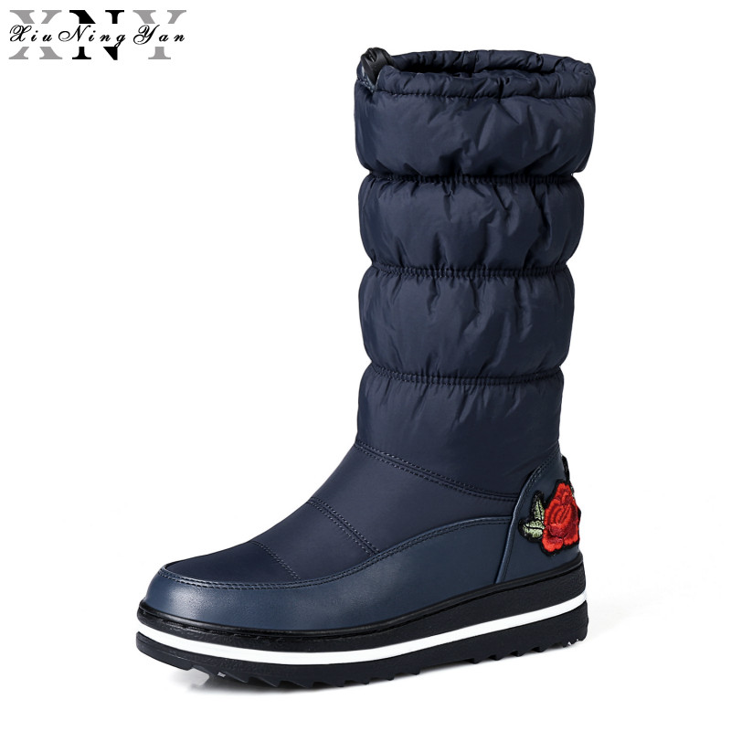 XiuNingYan New Cotton Fashion Snow Boots Women's Boots Flat Winter Boots Platform Fur Embroider Waterproof Keep Warm Shoes Women winter new fashion shoes women boots ankle warm snow boots with fur zipper platform flat boots camouflage cotton shoes h422 35