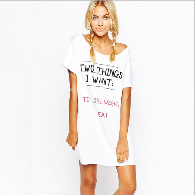 2017 New arrival women nightgowns cute sexy sleep dress fashion softy cotton material letters printed for ladies