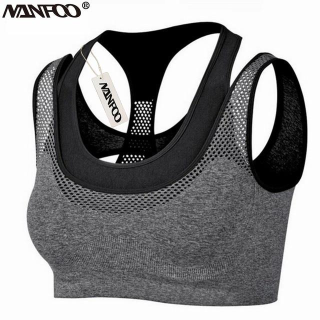 896eb85e61fd7 Professional Women Yoga Bra Mesh Layered Top Deportivo Running Gym Fitness  Sport Top Brassiere Sport bh