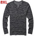 Plus size men's clothing autumn Large plus size t-shirt 8xl tspj cotton Henry collar long-sleeve T-shirt  8XL 155cm bust Big
