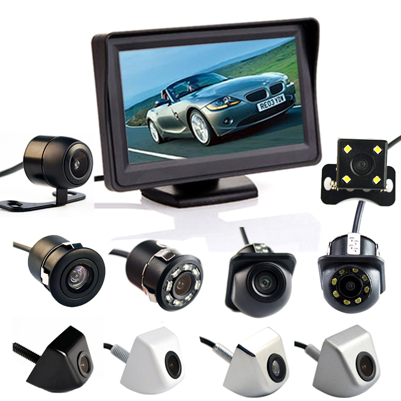 Hippcron 4.3 Inch Auto Parking System HD Car Rearview Mirror Monitor With 170 Degrees Waterproof For Rear View Camera
