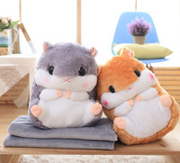 Cute Hamster Hold Pillow Blanket Home Decoration Bedding Coral Wool Blanket Office Travel Cushion Blankets Birthday