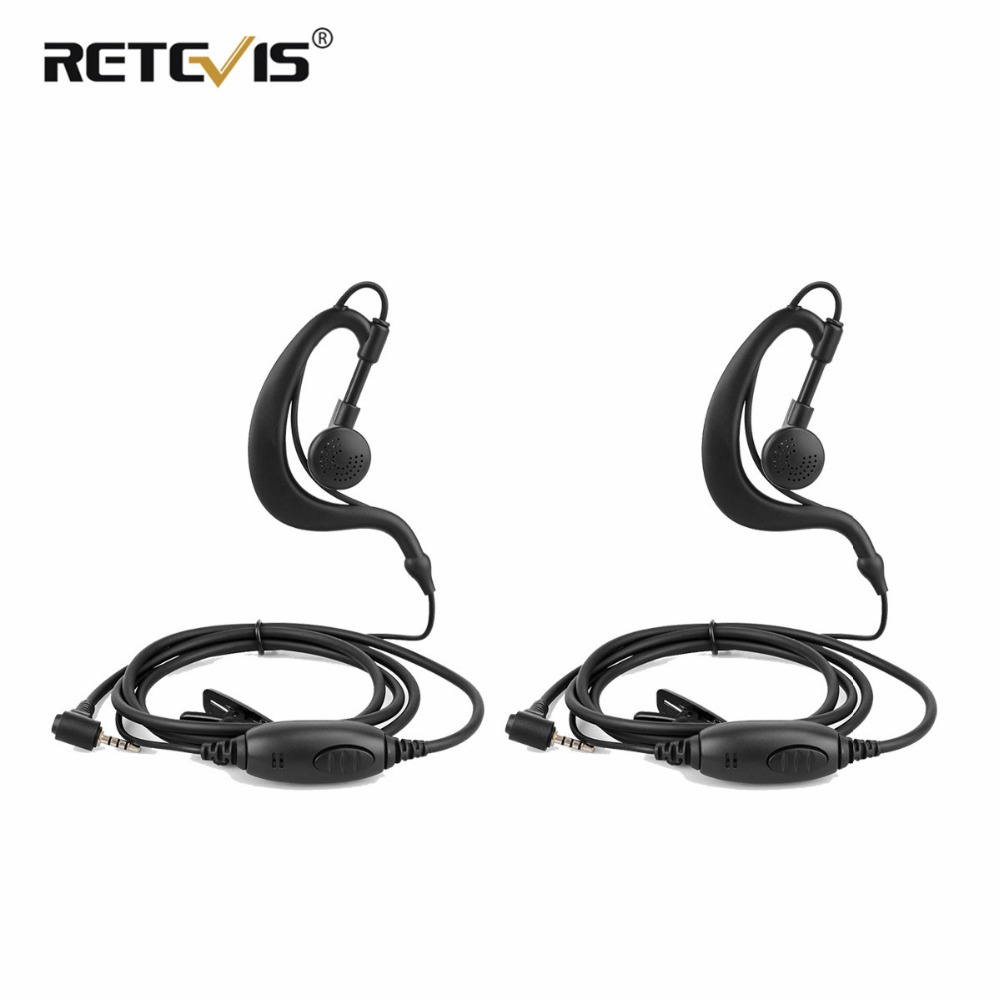2pcs New EE090Z Black 1-Pin 2.5mm PTT Speaker MIC Ear-hook Earphone Only For Retevis RT20 Walkie Talkie Headset J9138A
