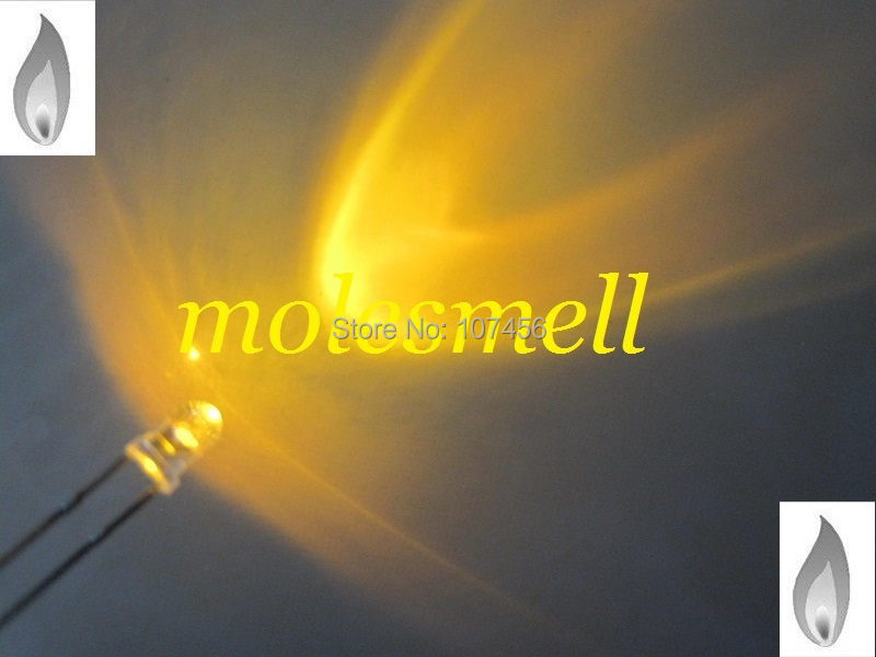 Frete Grátis Amarelo Vela Luz Cintilação Ultra Brilhante Led Leds 100 Pçs 3mm