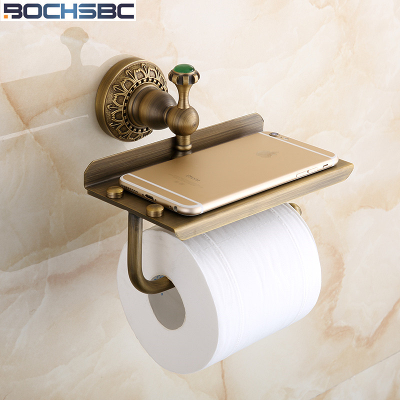 European Antique Paper Holder Bathroom Toilet Tissue Holder with Mobile Shelf Brass Copper Roller Paper Holder black of toilet paper all copper toilet tissue box antique toilet paper basket american top hand cartons