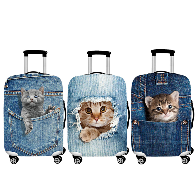 Denim Animal Printed Luggage Set Travel Luggage Covers Trendy Animal Prints Luggage Sets Dust Protection Luggage Organizer Cover