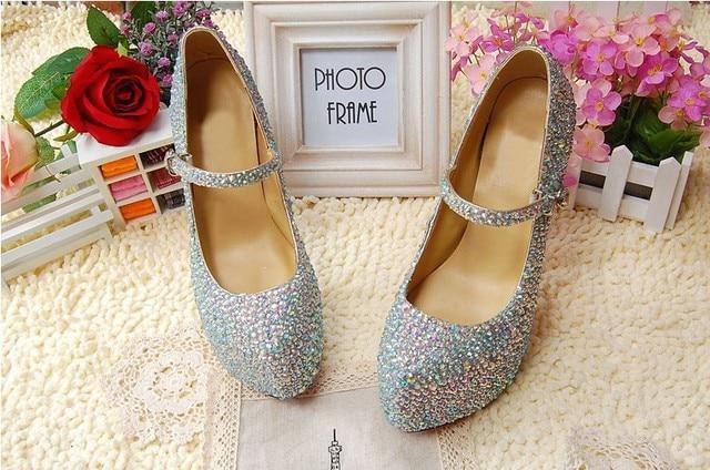 Silver Rhinestone Stiletto Heel Shoes Lady Bridal Dress Shoes Woman  Nightclub High Heel Dress Shoes Formal Shoes size 34-41 476bbf2c8452