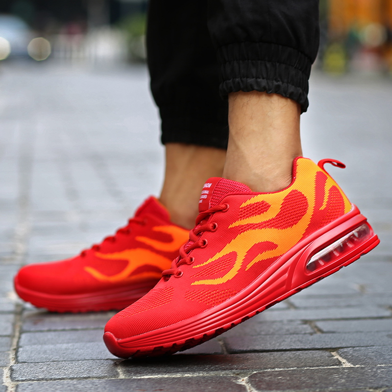 Running shoes Men sneakers New high quality Red breathable sport shoes male athletic Flying fabric flames cushion shoes Men gram epos men casual shoes top quality men high top shoes fashion breathable hip hop shoes men red black white chaussure hommre