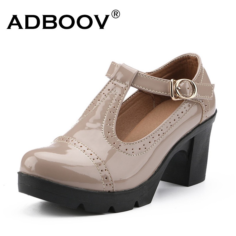 ADBOOV Patent Leather Pumps Women Shoes Mary Jane Shoes Wedding Shoes Bride Thick High Heels Pumps Ladies Sandals Nude/Black/Red gold lace pumps women mary jane shoes crystal pearl studded sandals red black pink ladies strange high heels wedding shoes