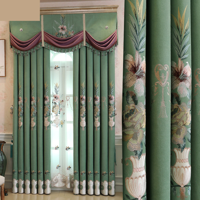US $48.0 |Custom curtains luxury noble bedroom velvet embroidered green  color French palace window blackout curtain valance tulle N162-in Curtains  ...