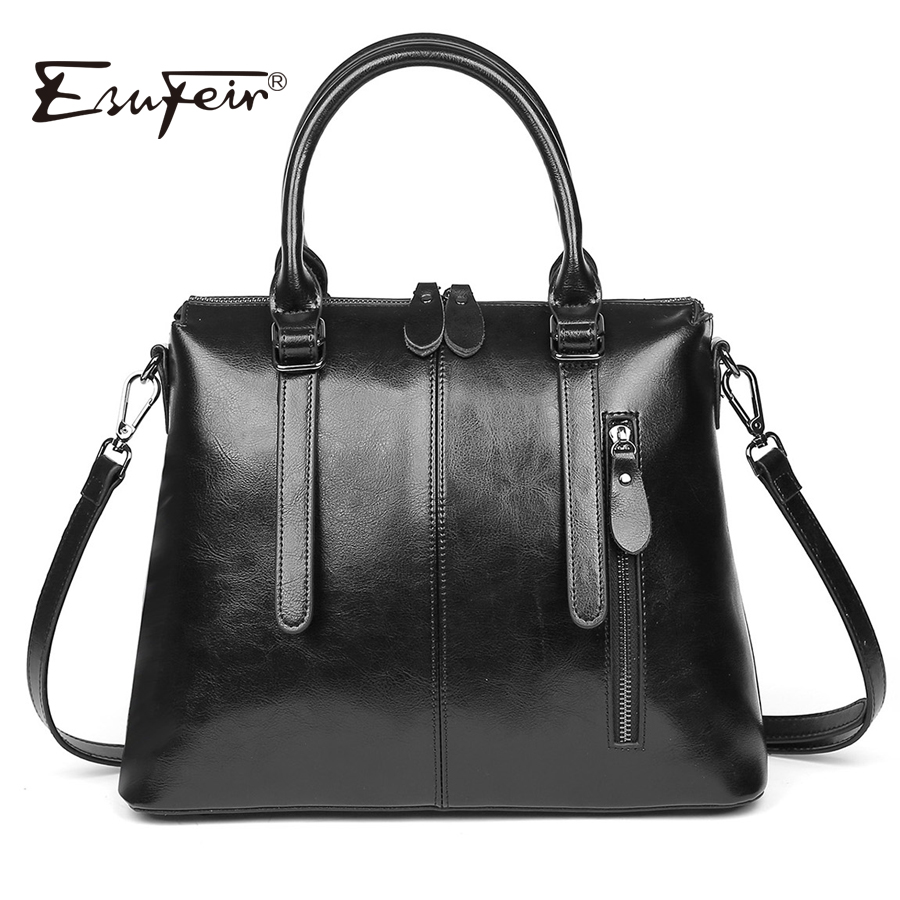 New 2018 ESUFEIR Brand Genuine leather Luxury Handbags Women Bags Designer Fashion Shoulder Bag Large capacity Casual Tote Bag luxury designer genuine leather women bag brand fashion cow leather handbag shoulder bags large capacity solid casual tote 2018