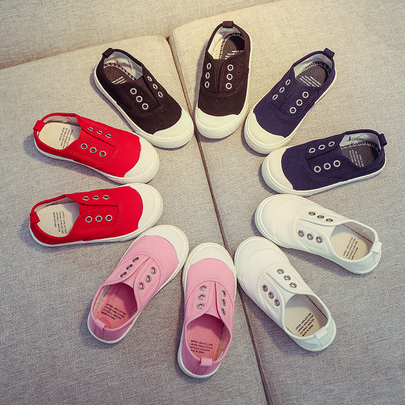 New 2018 Spring Toddler Boys Girls Kids Canvas Shoes Pink White Red For Baby Boys Girls Slip On School Shoes 2-14 Years Old 23