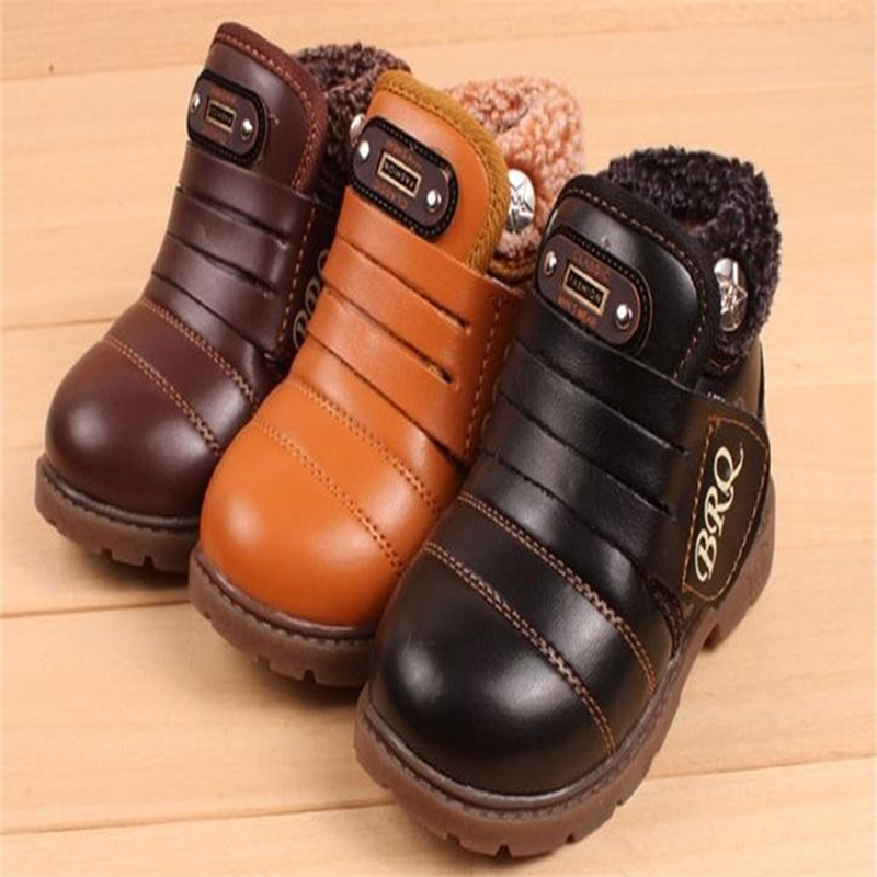 Hot Sale 2017 Fall Winter Children Waterproof Non-Slip Snow Boots Baby Warm Plush Shoes Boys Girls Child's Boots Kids Sneakers