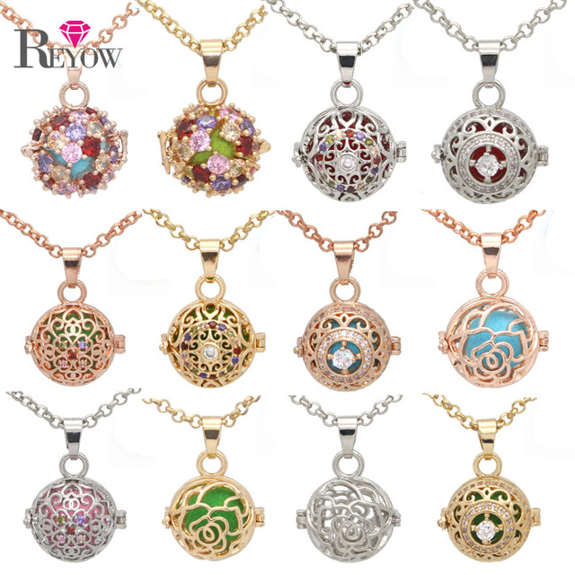 Reyow 1pc aromatherapy pendant necklace crystal small pearl cage reyow 1pc aromatherapy pendant necklace crystal small pearl cage locket essential oil diffuser necklace 24 aloadofball Image collections