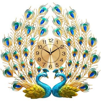 Большие 3D Алмазные настенные часы Павлин современный дизайн металлические Роскошные Настенные часы для дома гостиной украшения кварцевые ...