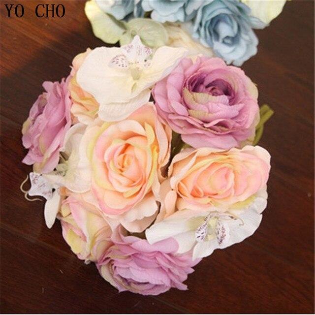 Real Touch Silk Rose Hochzeit Dekoration Lila Und Blau Kunstliche