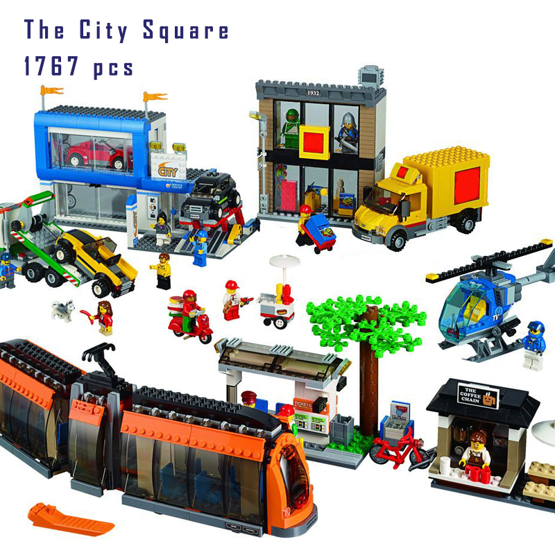 New Lepin 02038 1767Pcs Geuine City Series The City Square Set Children Educational Building Blocks Bricks Toys Gifts 60097 binyuxd women warm winter jacket 2017 fashion women hooded fur collar down cotton coat solid color slim large size female coat