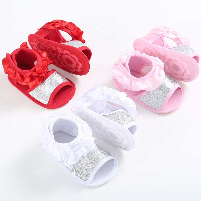 Summer Cute Baby Girls Clogs Shoes Fungus Lace Princess Shoes Infant Anti Slip Sandals Prewalkers