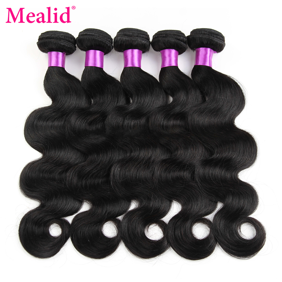 [Mealid] Brazilian Body Wave Bundles 5pcs Non-remy Natural Color 30 Inch Human Hair Bundles ...