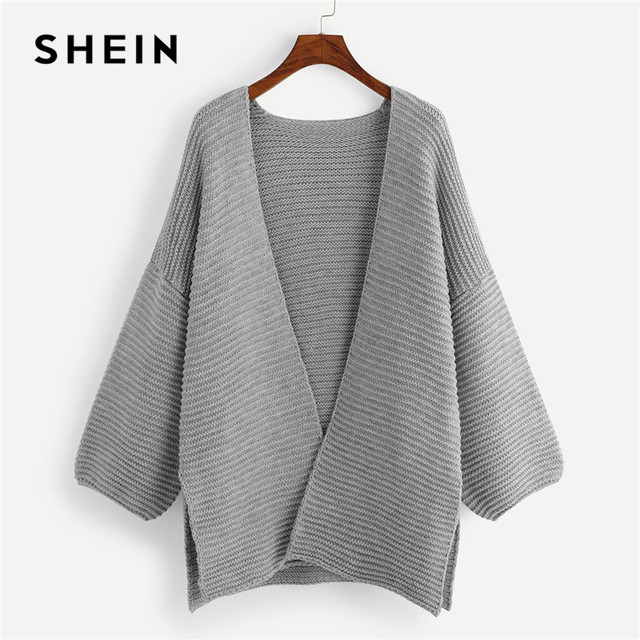 06eb34172a SHEIN Grey Kintted Plus Size Slit Side Womens Long Cardigans Sweater 2018  Office Lady Long Drop