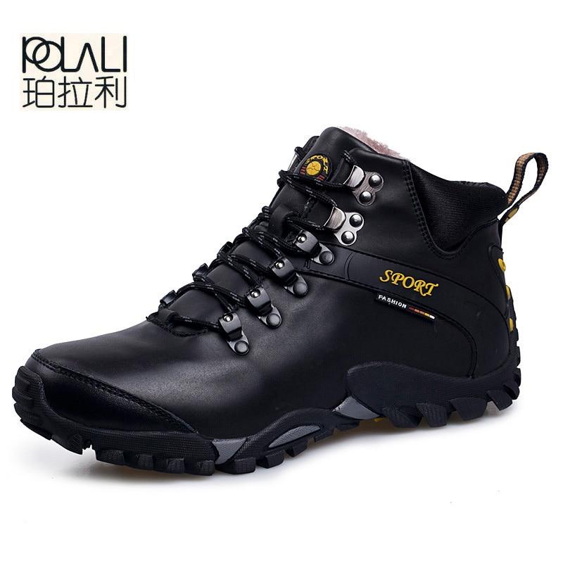 POLALI Men Boots Waterproof Men Footwear Boots 2019 Winter Snow Boots Fur Breathable Fashion Men Winter Shoes Zapatos Hombre