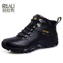 POLALI erkek botları su geçirmez erkek ayakkabı çizmeler 2019 kış kar botları kürk nefes moda erkekler kış ayakkabı zapatos hombre