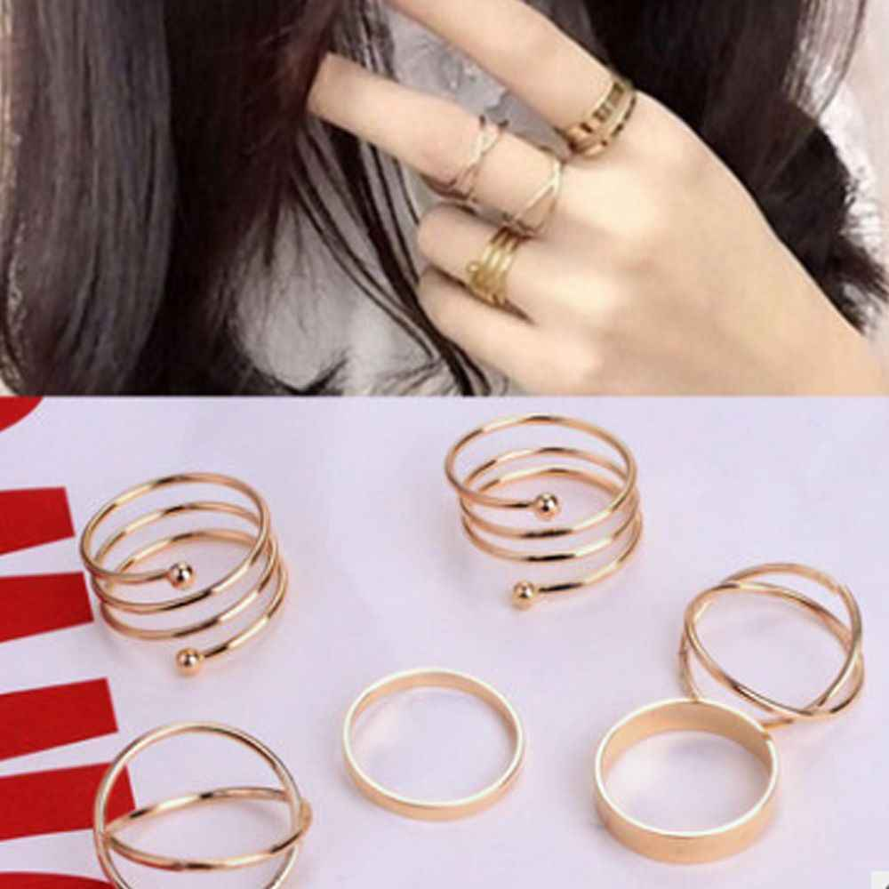 Unico caldo Set Anello Punk Knuckle Anelli per le donne Anello di Barretta 6 PCS Set Anello Best Vendita