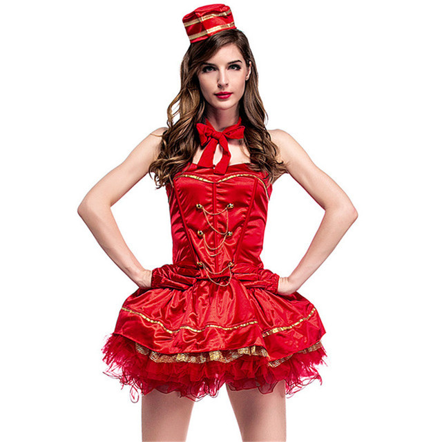 2017 New Red Vintage Cigarette Circus Girl Cosplay Red Tube Top Mini Dress Cigarette Girl Role