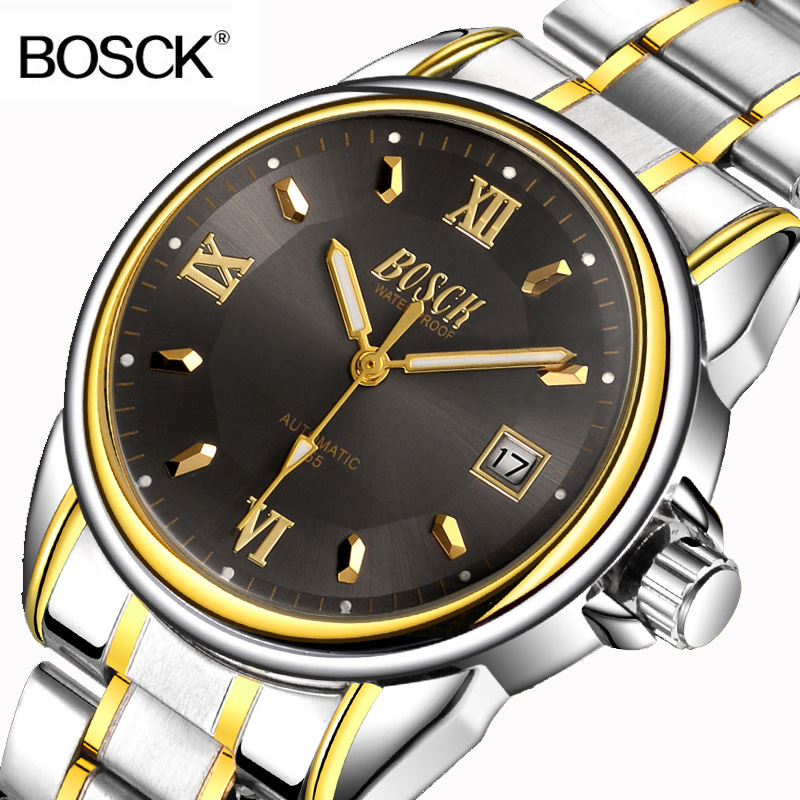 BOSCK Brand Gold Luxury Men Mechanical Automatic Watch Male Clock Self Wind Men Watches Calendar Stainless Steel Wristwatches fashion men mechanical hand wind watches men skeleton stainless steel wristwatches for male luxury golden watch men