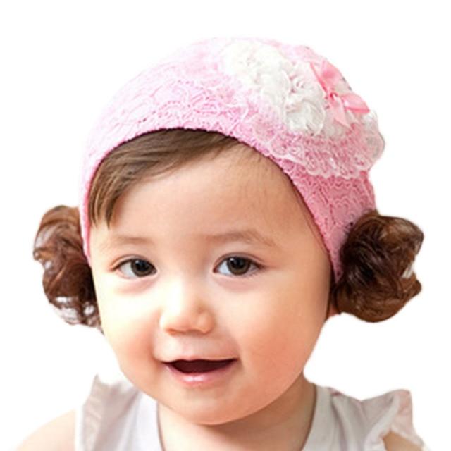 Cute Newborn Lovely Cute Baby Headbands Girl Wig Diamond Decor