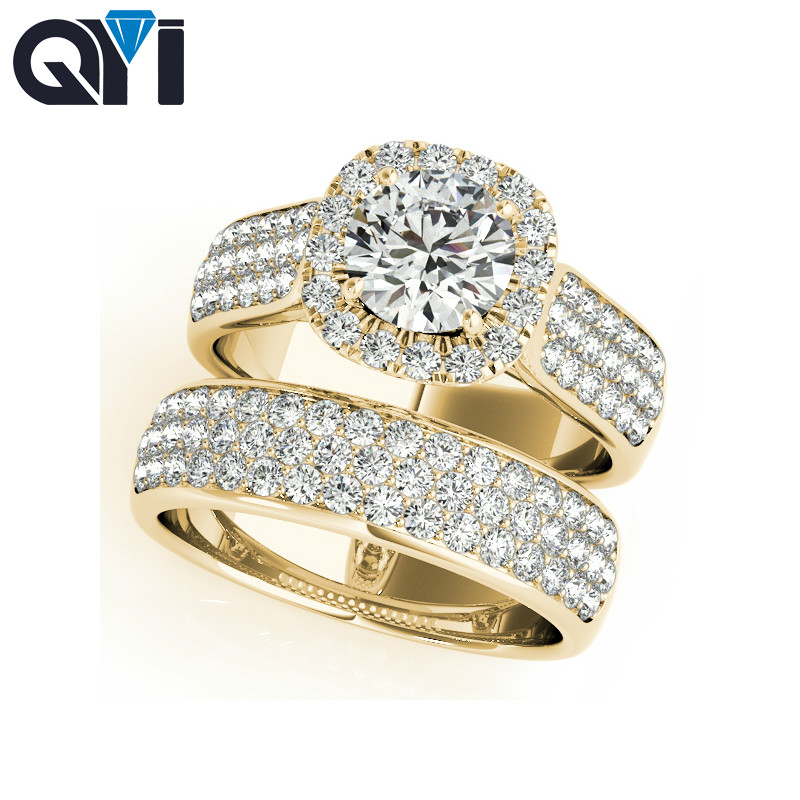 QYI New Luxurious Party Accessories Cubic Zirconia Ring Bridal Sets 925 Sterling Silver Rings For Women Jewelry blucome cubic zirconia nail rings bridal jewelry fashion women s copper finger ring bridal ring accessories aneis anel ouro
