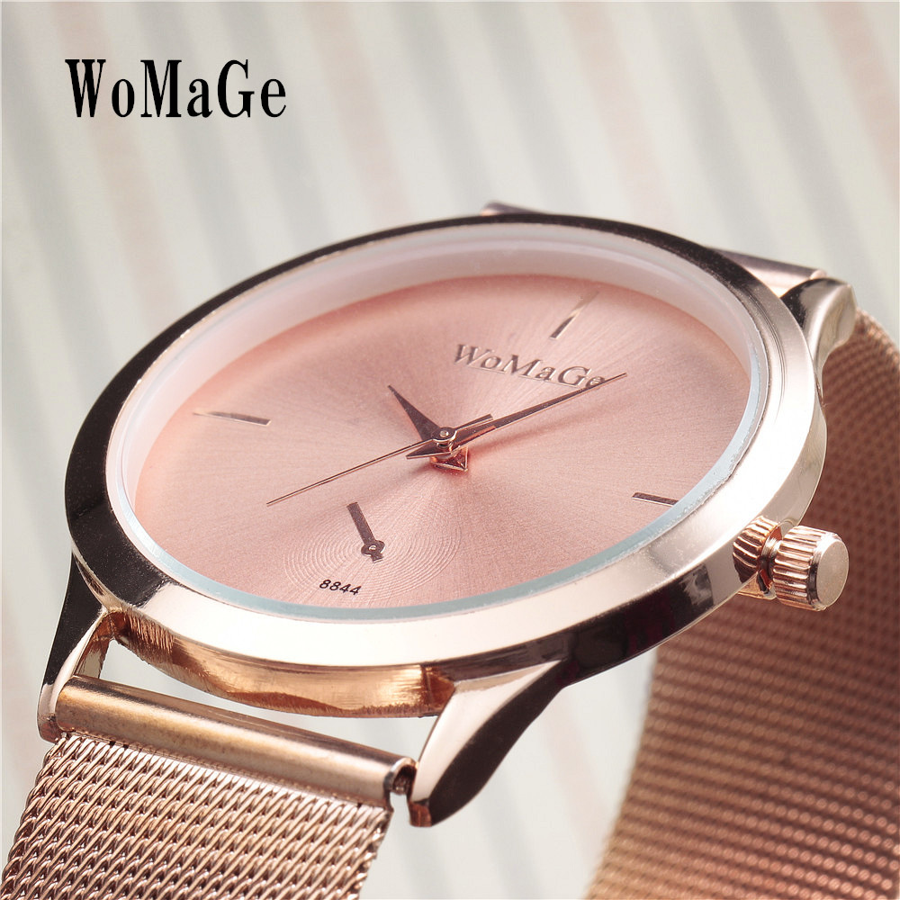 New Luxury Brand WoMaGe Fashion Mens Wrist Watches Gift Best Rose Gold Colck Casual Mesh Belt Classic Men Dress Quartz Watch