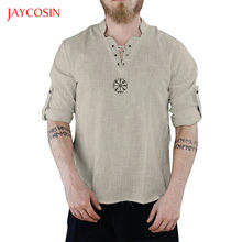 Jaycosin Clothes Men T-shirt Fashionable linen Summer Top Long sleeves Men Casual Sport Printed Lace up blouse top mujer XXL(China)