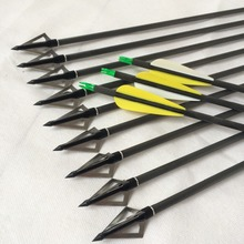 12PCS/Lot 30″ Carbon Arrows And 100 Grain Black Steel Arrowheads Used For Archery and Hunting Compound Bow Arrows AR10