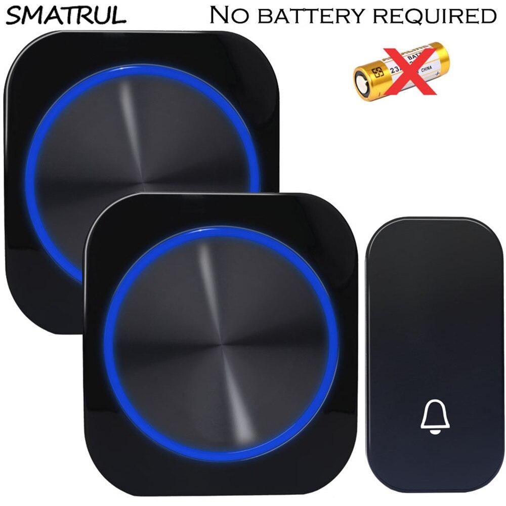 SMATRUL auto-alimenté étanche sans fil porte cloche anneau carillon veilleuse pas de batterie EU plug sonnette 1 bouton 1 2 récepteur 150M