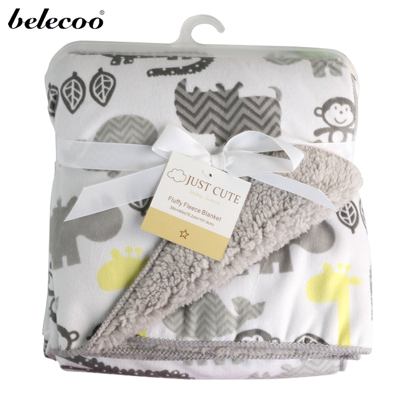Belecoo 2016 Baby Blankets New Thicken font b Double b font Layer Fleece Infant swaddle bebe